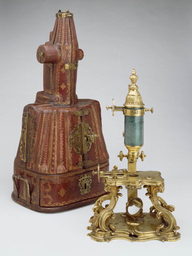 Compound Microscope and Case; Micrometric stage invented by Michel-Ferdinand d'Albert d'Ailly, 6th duke of Chaulnes (French, 1714 - 1769), Gilt-bronze mounts attributed to Jacques Caffieri (French, 1678 - 1755, master 1714); about 1751; Gilt bronze, enamel, shagreen and glass; wood, tooled leather, brass, velvet, silver galon and various natural specimens; 86.DH.694; Rights Statement: No Copyright - United States