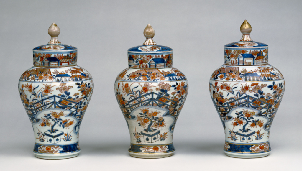 Garniture of Three Vases; Unknown; 1700–1750; Hard-paste porcelain with enamel and gilded decoration; 87.DE.26; The J. Paul Getty Museum, Los Angeles; Rights Statement: No Copyright - United States