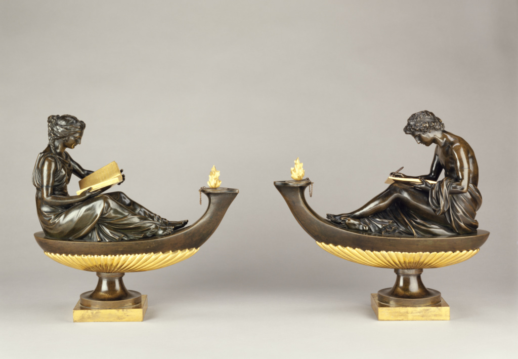 Pair of decorative bronzes with the figures of L'Etude and La Philosophie; Attributed to Pierre-Philippe Thomire (French, 1751 - 1843, master 1772), after models by Louis-Simon Boizot (French, 1743 - 1809); Paris, France; about 1780–1785; Gilt and patinated bronze; 88.SB.113; The J. Paul Getty Museum, Los Angeles; Rights Statement: No Copyright - United States
