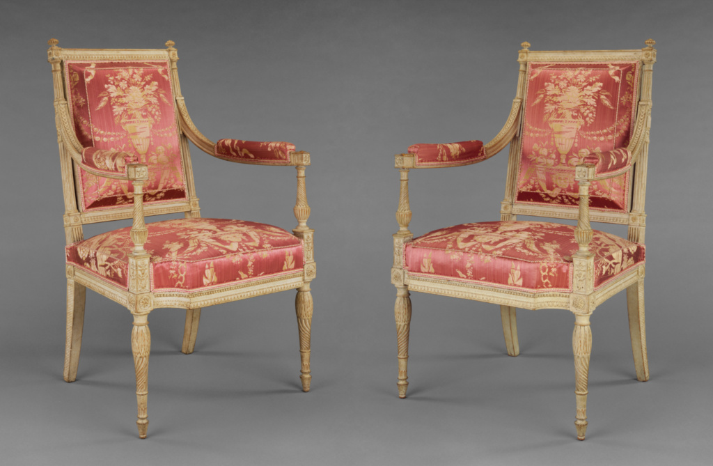One pair of Armchairs; Georges Jacob (French, 1739 - 1814, master 1765); about 1790–1792; Painted beechwood and modern silk upholstery; 95.3 × 59.7 cm (37 1/2 × 23 1/2 in.); 91.DA.15.2; Rights Statement: No Copyright - United States