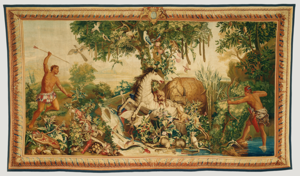 Tapestry: Le Cheval rayé from Les Anciennes Indes Series; Woven at Royal Factory of Furniture to the Crown at the Gobelins Manufactory (French, founded 1662), after a cartoon painted by Albert Eckhout (Dutch, about 1610 - 1665), and Frans Post (Dutch, 1612 - 1680), and retouched by Jean-Baptiste Monnoyer (French, 1636 - 1699), Jean-Baptiste Belin de Fontenay (French, 1653 - 1715), René-Antoine Houasse (French, about 1644/1645 - 1710), François Bonnemer (French, 1637 - 1689), with later additions by Alexandre-François Desportes (French, 1661 - 1743); Paris, France; about 1692–1730; Wool and silk; modern cotton lining; 330.2 × 574 cm (130 × 226 in.); 92.DD.21; The J. Paul Getty Museum, Los Angeles; Rights Statement: No Copyright - United States