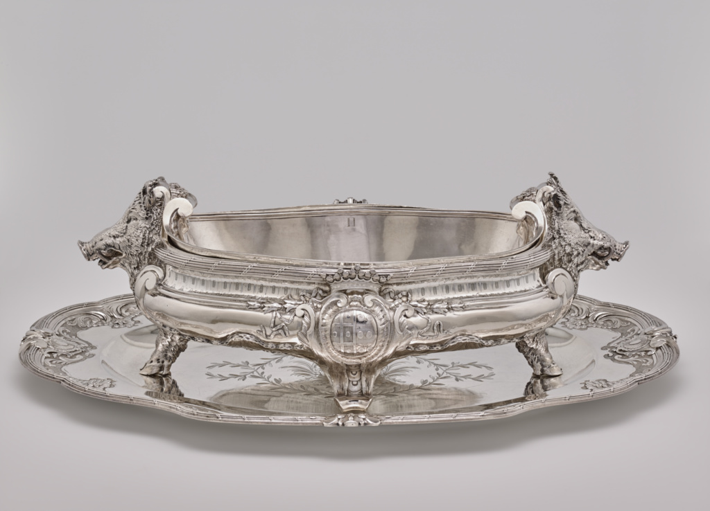 Tureen, Liner and Stand (one of a pair); Thomas Germain (French, 1673 - 1748, master 1720), arms added by François-Thomas Germain (French, 1726 - 1791); Paris, France; 1726–1729; Silver; 17.1 × 46.7 × 25.7 cm, 8620 g (6 3/4 × 18 3/8 × 10 1/8 in., 277.139 ozt.); 82.DG.12.1; The J. Paul Getty Museum, Los Angeles; Rights Statement: No Copyright - United States
