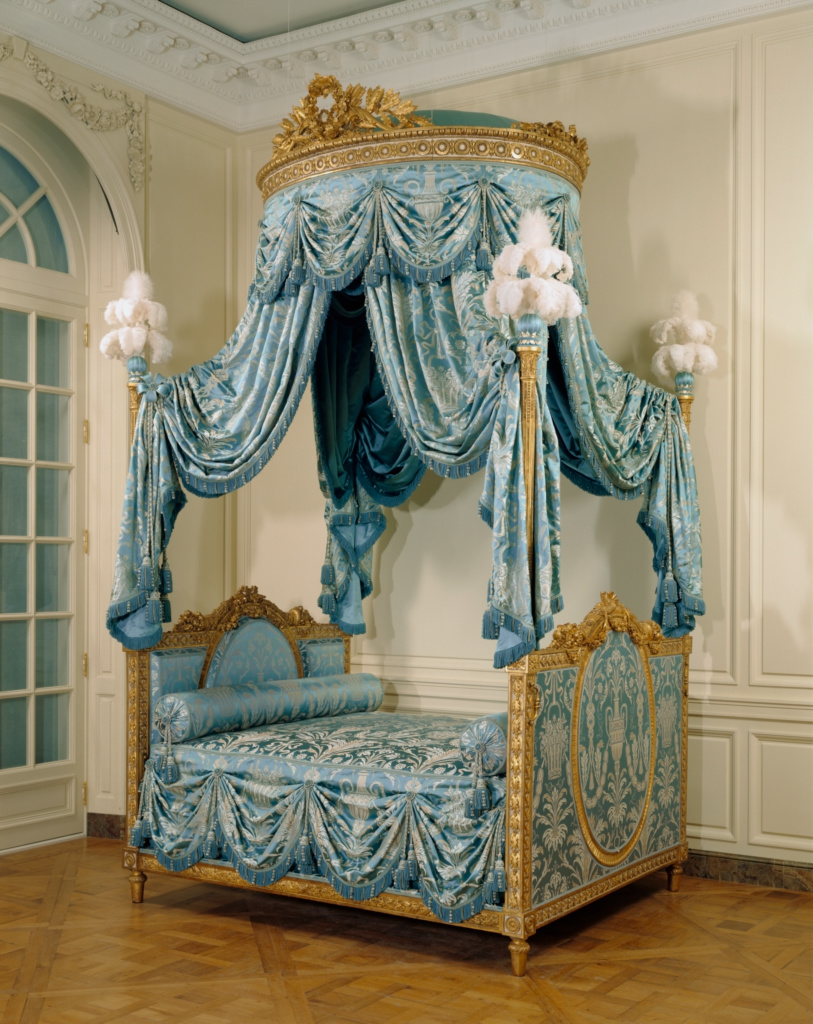 Bed (Lit à la polonaise); Unknown maker; Paris, France; about 1775–1780; Gessoed, gilded, and painted walnut; gilded iron; modern silk upholstery and passementerie; ostrich feathers; 302 × 179 × 226 cm (118 7/8 × 70 1/2 × 89 in.); 94.DA.72; The J. Paul Getty Museum, Los Angeles; Rights Statement: No Copyright - United States