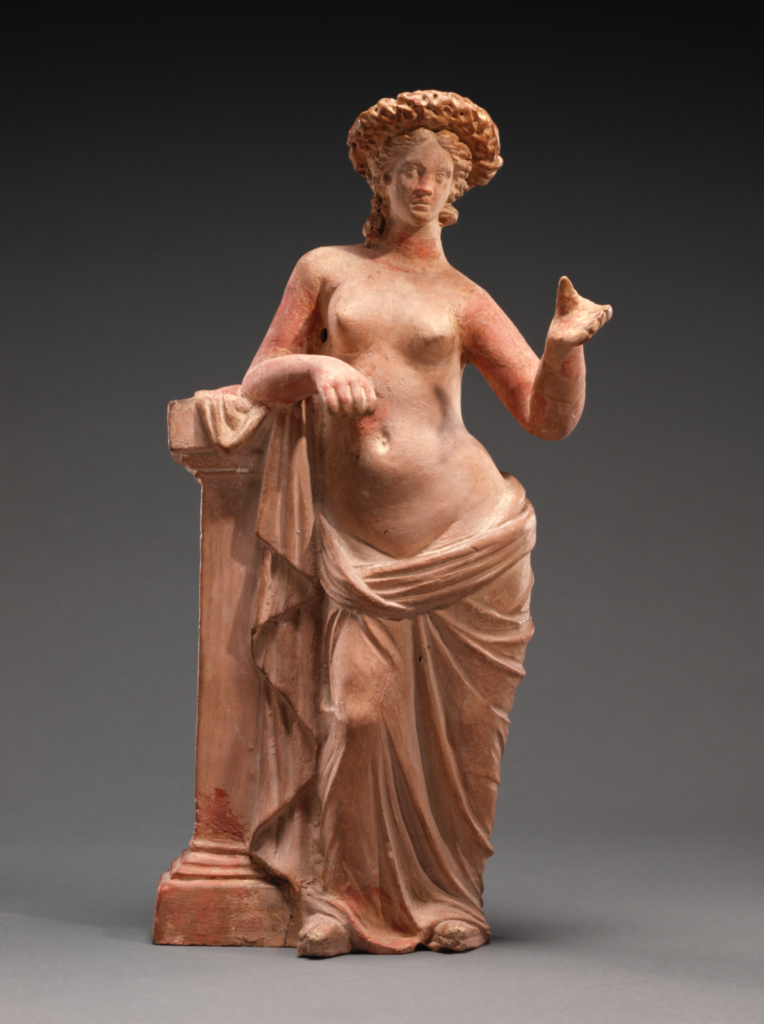 Statuette of Aphrodite Leaning on a Pillar; Unknown; Tanagra, Greece; 250–200 B.C.; Terracotta with polychromy; 27.1 × 12.5 × 7 cm (10 11/16 × 4 15/16 × 2 3/4 in.); 55.AD.7; The J. Paul Getty Museum, Villa Collection, Malibu, California; Rights Statement: No Copyright - United States