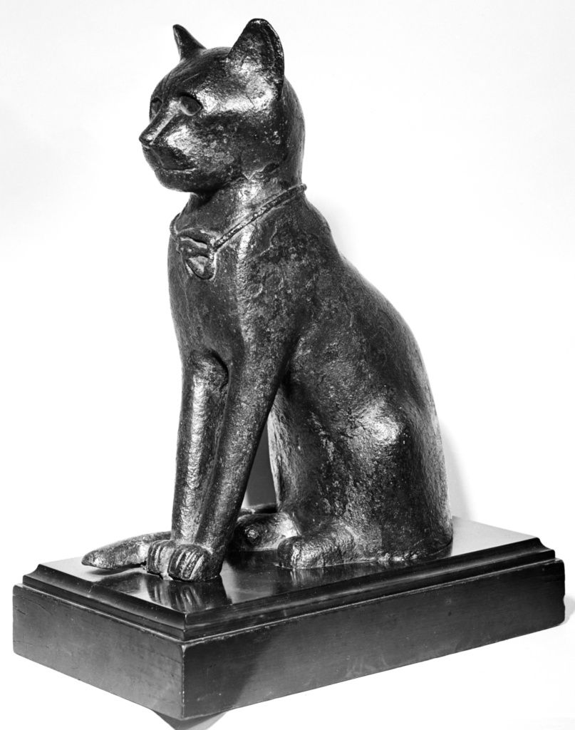 Statuette of Bast in the Form of a Cat; Unknown; Egypt; 4th-1st century B.C.; Bronze; 32.3 cm (12 11/16 in.); 55.AK.9; The J. Paul Getty Museum, Villa Collection, Malibu, California; Rights Statement: No Copyright - United States