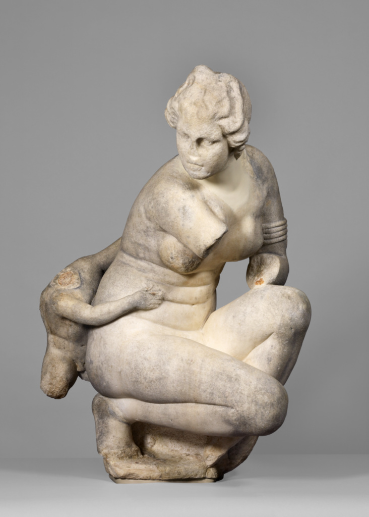 Statue of a Crouching Venus; Unknown; Roman Empire; A.D. 100–150; Gray marble; 115 × 56.7 × 72.6 cm (45 1/4 × 22 5/16 × 28 9/16 in.); 55.AA.10; The J. Paul Getty Museum, Villa Collection, Malibu, California; Rights Statement: No Copyright - United States