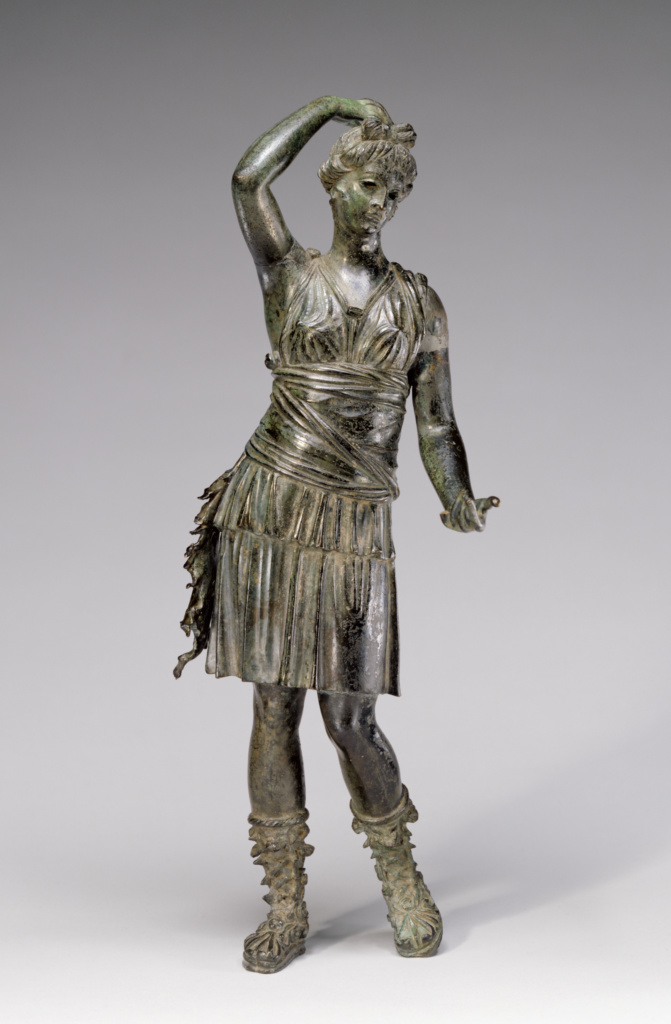 Statuette of Diana; Unknown; 1st century B.C.; Bronze; 30 × 11 × 8.5 cm (11 13/16 × 4 5/16 × 3 3/8 in.); 57.AB.15; The J. Paul Getty Museum, Villa Collection, Malibu, California; Rights Statement: No Copyright - United States