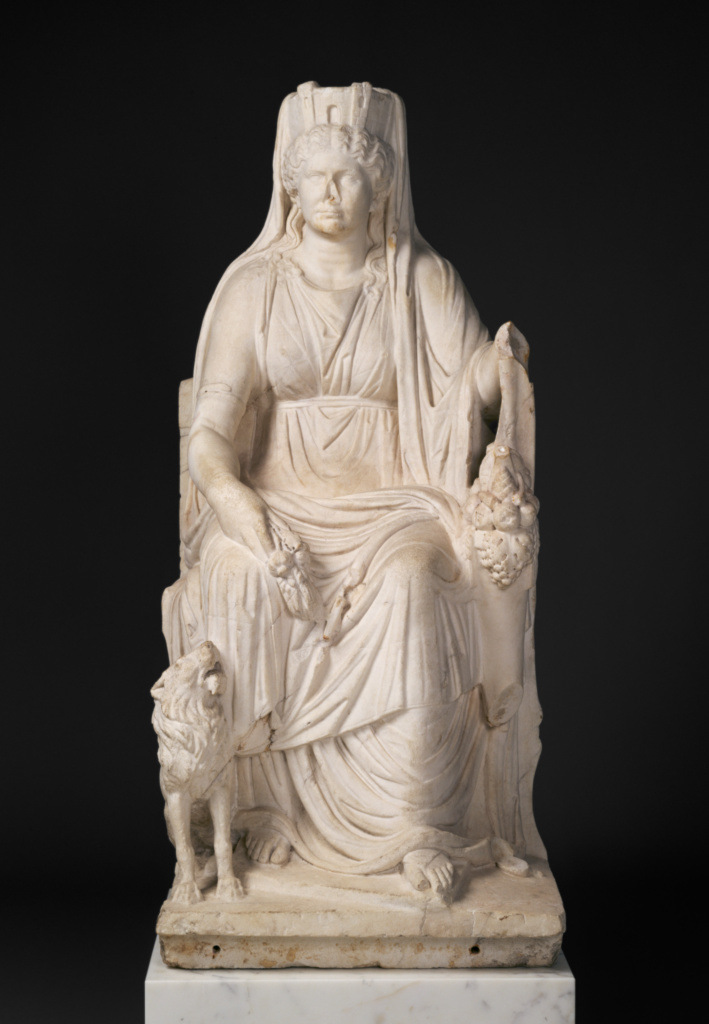 Statue of a Seated Cybele with the Portrait Head of her Priestess; Unknown; about A.D. 50; Marble; 162 × 70 × 64.5 cm (63 3/4 × 27 9/16 × 25 3/8 in.); 57.AA.19; Rights Statement: No Copyright - United States