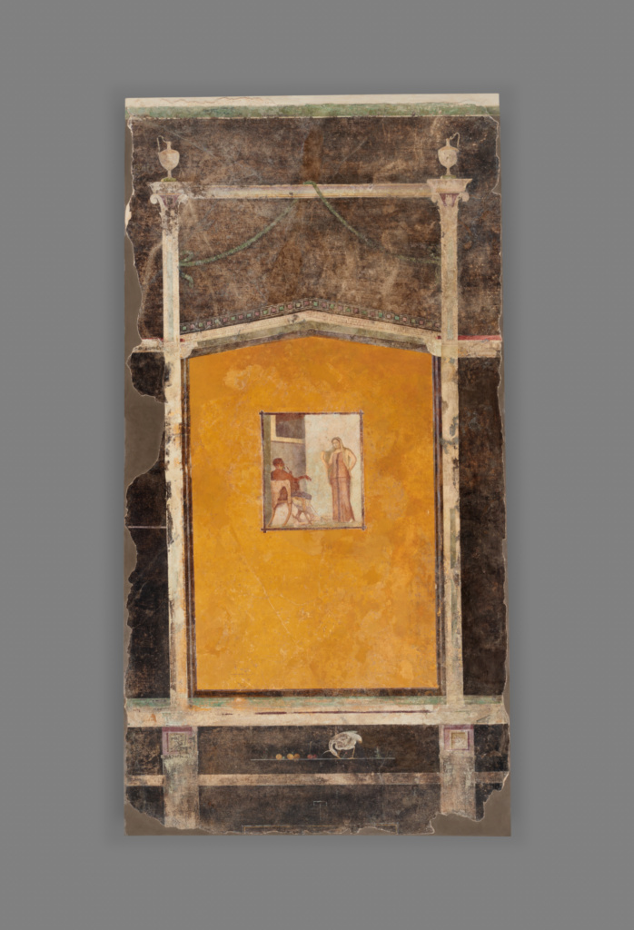 Wall Panel from a Black Ground Frescoed Room; Unknown; A.D. 1–50; Fresco; 247 × 130 cm (97 1/4 × 51 3/16 in.); 70.AG.91; Rights Statement: No Copyright - United States