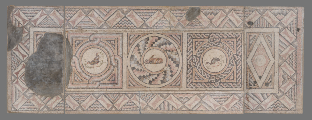 Mosaic Floor with Animals (7); Unknown; Antioch, Syria (present-day Antakya, Turkey); about A.D. 400; Stone tesserae; 257.2 × 682.3 × 5.7 cm (101 1/4 × 268 5/8 × 2 1/4 in.); 70.AH.96; The J. Paul Getty Museum, Villa Collection, Malibu, California; Rights Statement: No Copyright - United States