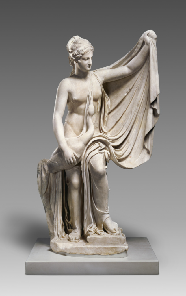 Statue of Leda and the Swan; Unknown; 1st century A.D.; Marble; 132.1 × 83.5 × 52.1 cm (52 × 32 7/8 × 20 1/2 in.); 70.AA.110; The J. Paul Getty Museum, Villa Collection, Malibu, California; Rights Statement: No Copyright - United States
