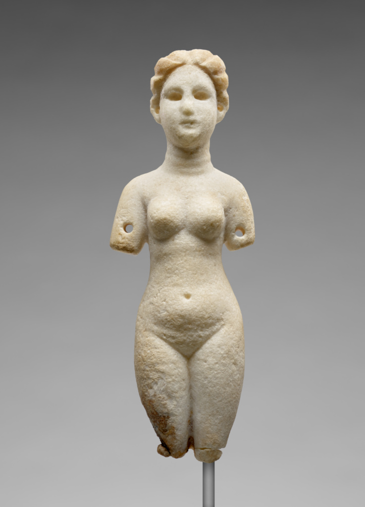 Statuette of Venus; Unknown; Syria (?); A.D. 100–300; Marble; 18 × 6.5 × 4.5 cm (7 1/16 × 2 9/16 × 1 3/4 in.); 70.AA.116; The J. Paul Getty Museum, Villa Collection, Malibu, California; Rights Statement: No Copyright - United States