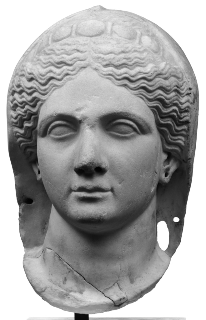 Portrait of a Veiled Female Head, Perhaps Sabina; Unknown; Roman Empire; early 2nd century A.D.; Marble; 40.5 × 26.5 × 26 cm (15 15/16 × 10 7/16 × 10 1/4 in.); 70.AA.117; The J. Paul Getty Museum, Villa Collection, Malibu, California; Rights Statement: No Copyright - United States