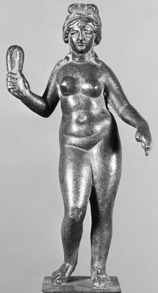 Imitation of a Statuette of Aphrodite; Unknown; Europe (?); 20th century; Bronze; 20 × 10.2 × 5.7 cm (7 7/8 × 4 × 2 1/4 in.); 70.AK.118; The J. Paul Getty Museum, Villa Collection, Malibu, California; Rights Statement: No Copyright - United States