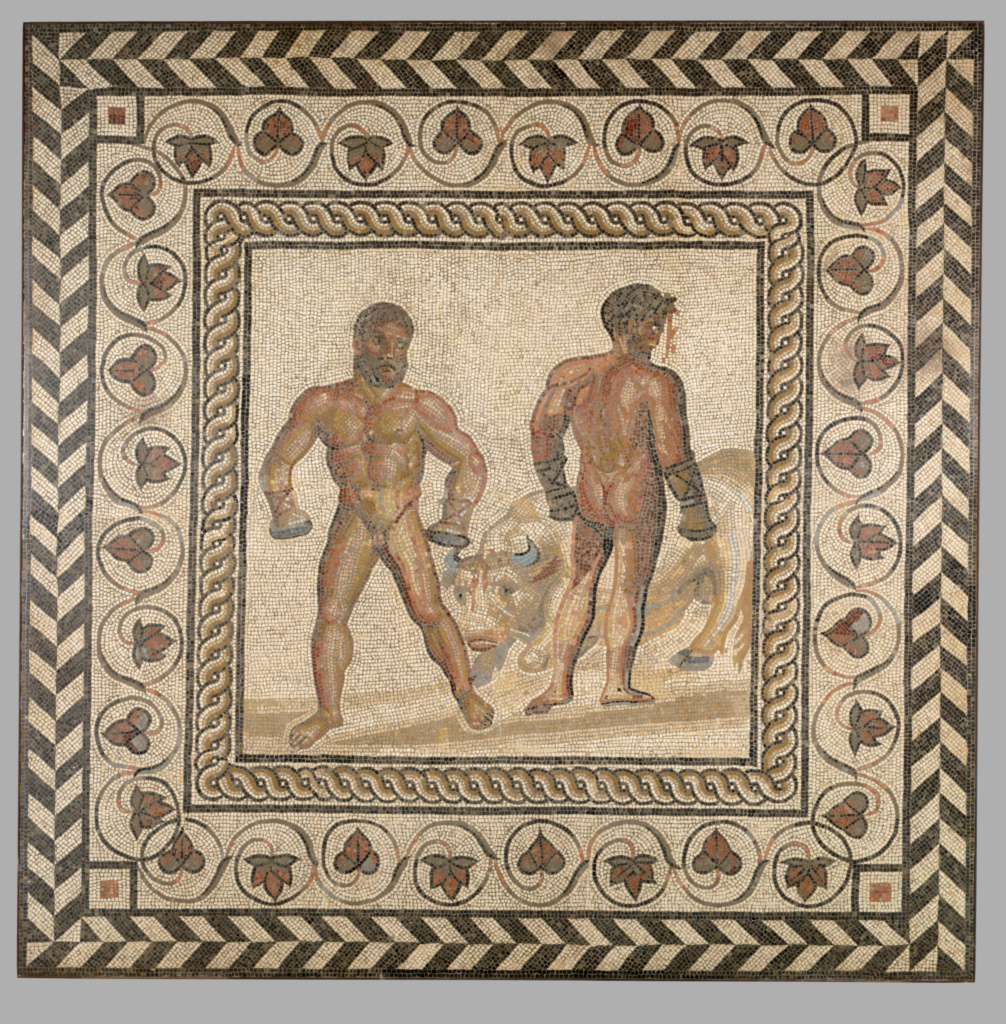 Mosaic Floor with Combat Between Dares and Entellus; Unknown; Villelaure, France; A.D. 175–200; Stone and glass tesserae; 208 × 208 × 8 cm, 498.9522 kg (81 7/8 × 81 7/8 × 3 1/8 in., 1099.99 lb.); 71.AH.106; The J. Paul Getty Museum, Villa Collection, Malibu, California; Rights Statement: No Copyright - United States