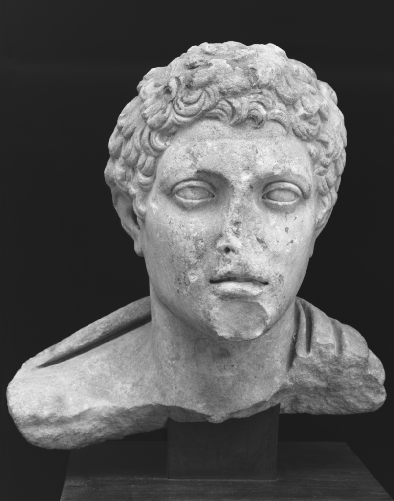 Fragmentary Bust of a Youth; Unknown; Roman Empire; A.D. 14–37; Marble; 33.5 cm (13 3/16 in.); 71.AA.119; The J. Paul Getty Museum, Villa Collection, Malibu, California; Rights Statement: No Copyright - United States