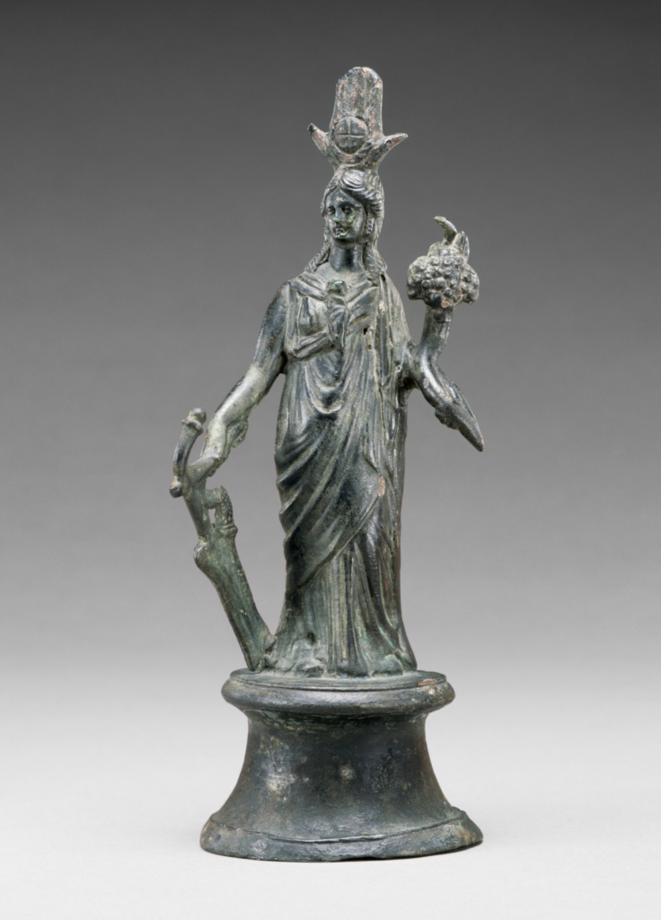 Statuette of Isis-Fortuna; Unknown; Roman Empire; 2nd century A.D.; Bronze; 19 cm (7 1/2 in.); 71.AB.180; The J. Paul Getty Museum, Villa Collection, Malibu, California; Rights Statement: No Copyright - United States