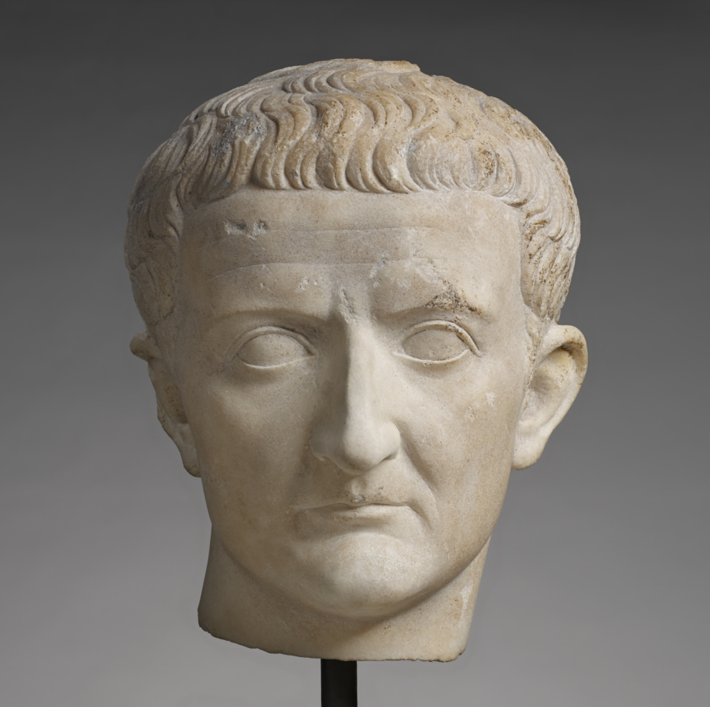 """Portrait Head of Tiberius (""""The Lansdowne Tiberius""""); Unknown; Roman Empire; A.D. 14–37; Marble; 29.2 × 21 × 22.2 cm (11 1/2 × 8 1/4 × 8 3/4 in.); 71.AA.275; The J. Paul Getty Museum, Villa Collection, Malibu, California; Rights Statement: No Copyright - United States"""