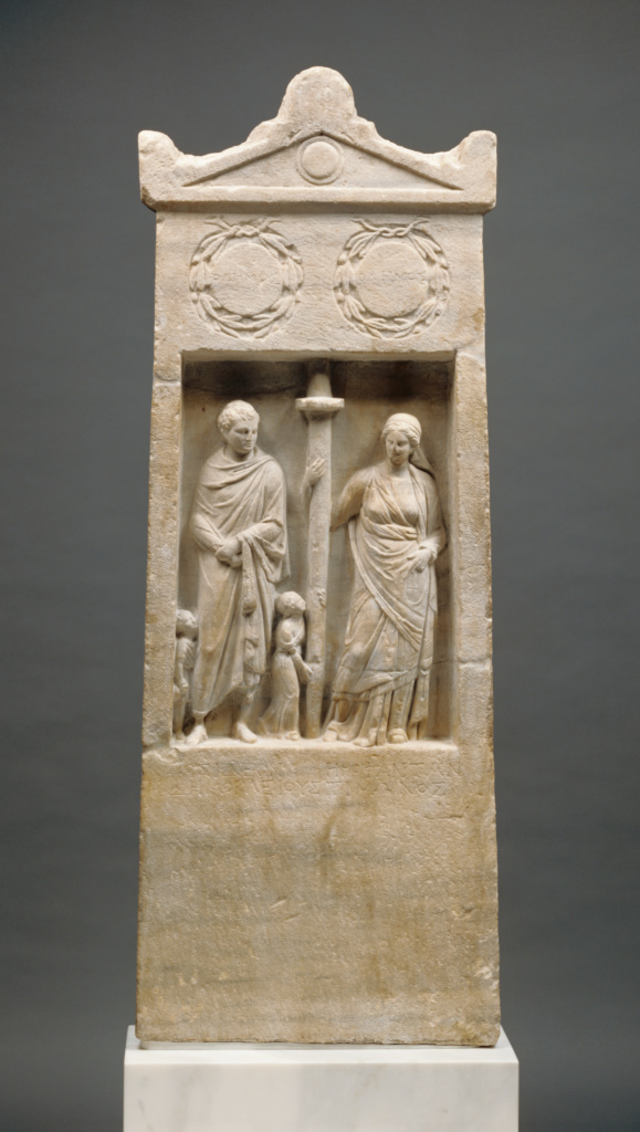 Grave Stele of Herophanta and Posideos; Unknown; Asia Minor; about 150 B.C.; Marble; 151.4 × 57 × 11.5 cm (59 5/8 × 22 7/16 × 4 1/2 in.); 71.AA.288; The J. Paul Getty Museum, Villa Collection, Malibu, California; Rights Statement: No Copyright - United States