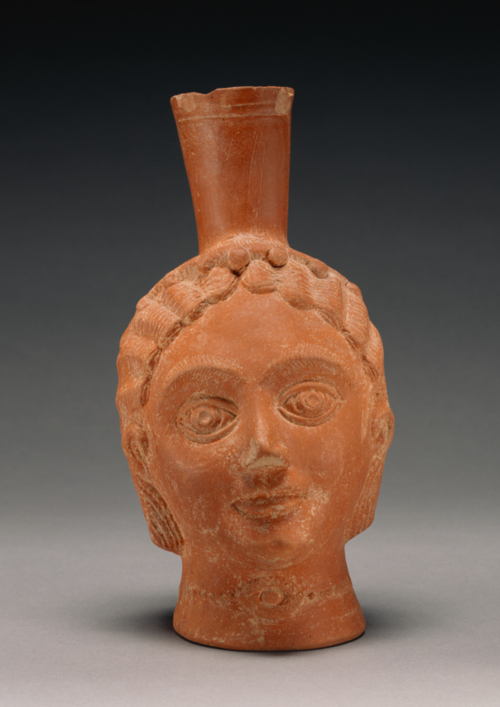 Red-Slip Head Vase; Unknown; 3rd century A.D.; Terracotta; 22.8 × 5.1 cm (9 × 2 in.); 71.AE.299; Rights Statement: No Copyright - United States