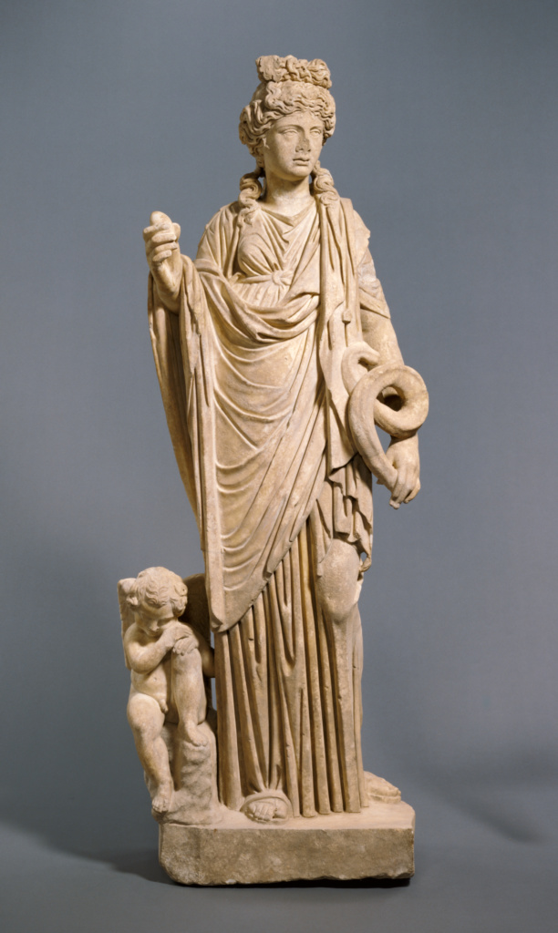 Salus; Unknown; Roman Empire; A.D. 200–250; Marble; 175 × 53 × 35 cm (68 7/8 × 20 7/8 × 13 3/4 in.); 71.AA.338; The J. Paul Getty Museum, Villa Collection, Malibu, California; Rights Statement: No Copyright - United States