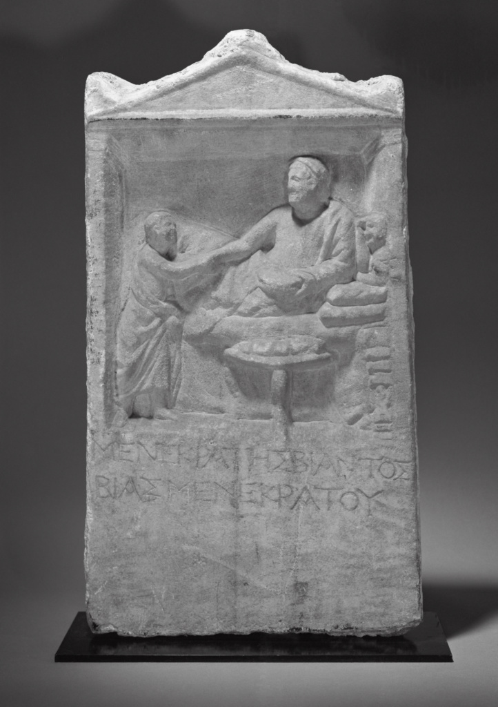 Grave Stele of Menekrates; Unknown; Asia Minor; about 150 B.C.; Marble; 55 × 30.5 × 6 cm (21 5/8 × 12 × 2 3/8 in.); 71.AA.376; The J. Paul Getty Museum, Villa Collection, Malibu, California; Rights Statement: No Copyright - United States