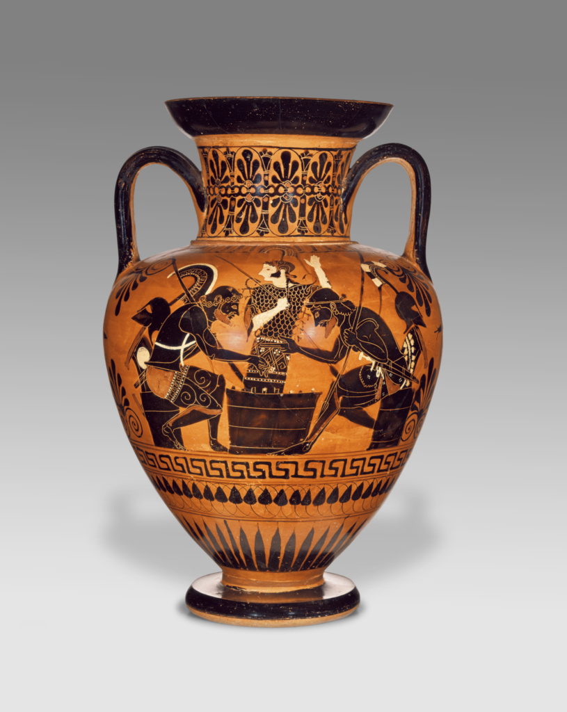 Attic Black-Figure Neck Amphora; Attributed to the Medea Group (Greek (Attic), active 530 - 510 B.C.); Athens, Greece; about 510 B.C.; Terracotta; 36.2 × 23.5 cm (14 1/4 × 9 1/4 in.); 71.AE.441; The J. Paul Getty Museum, Villa Collection, Malibu, California; Rights Statement: No Copyright - United States