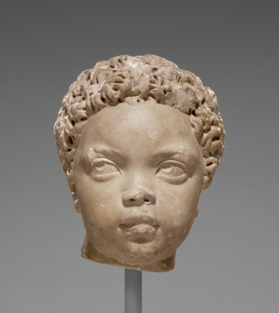Portrait of a Child; Unknown; Italy; A.D. 150–200; Marble; 22 × 20.3 × 19.1 cm (8 11/16 × 8 × 7 1/2 in.); 71.AA.462; The J. Paul Getty Museum, Villa Collection, Malibu, California; Rights Statement: No Copyright - United States