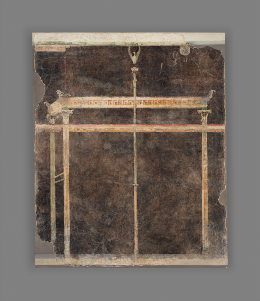 Panel from a Black Ground Frescoed Room with Architectural Decoration; Unknown; Boscoreale, Italy; A.D. 1–50; Fresco; 220 × 180 cm (86 5/8 × 70 7/8 in.); 72.AG.79.1; The J. Paul Getty Museum, Villa Collection, Malibu, California; Rights Statement: No Copyright - United States