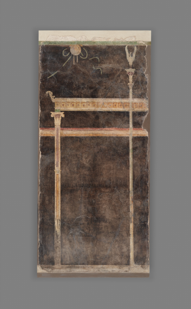 Panel from a Black Ground Frescoed Room with Architectural Decoration; Unknown; Boscoreale, Italy; A.D. 1–50; Fresco; 215 × 100 cm (84 5/8 × 39 3/8 in.); 72.AG.79.2; The J. Paul Getty Museum, Villa Collection, Malibu, California; Rights Statement: No Copyright - United States