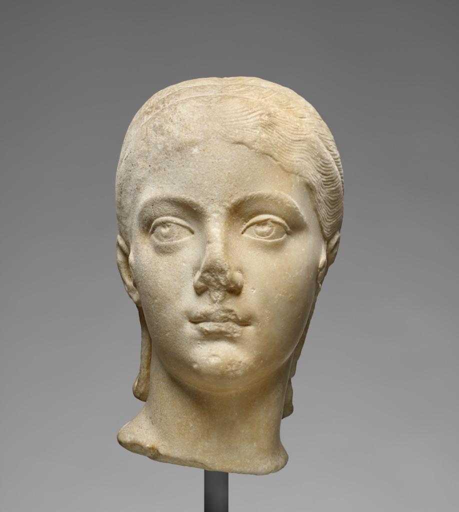 Portrait Head of Plautilla; Unknown; Roman Empire; A.D. 200–205; Marble, fine-grained; 30.5 × 18 × 22 cm (12 × 7 1/16 × 8 11/16 in.); 72.AA.118; The J. Paul Getty Museum, Villa Collection, Malibu, California; Rights Statement: No Copyright - United States