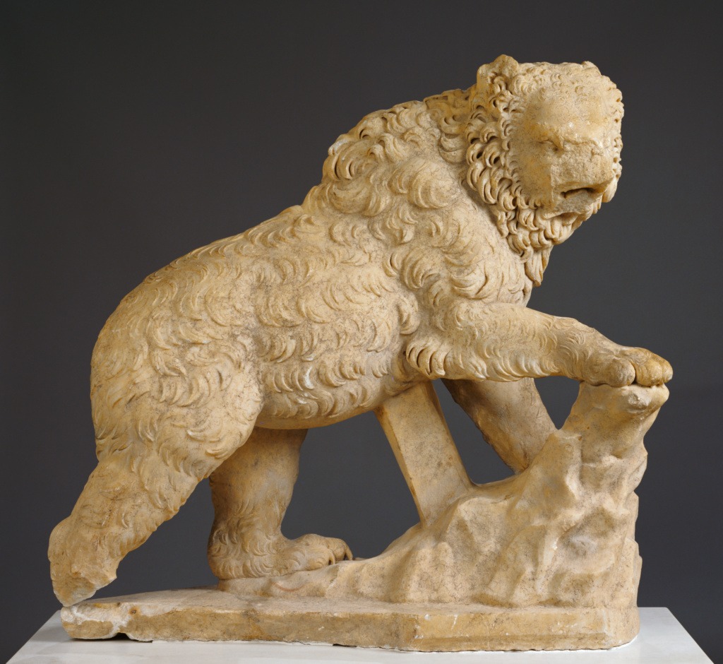 Statue of a Bear; Unknown; A.D. 100–125; Marble; 171.2 × 53.3 × 127 cm (67 3/8 × 21 × 50 in.); 72.AA.125; Rights Statement: No Copyright - United States