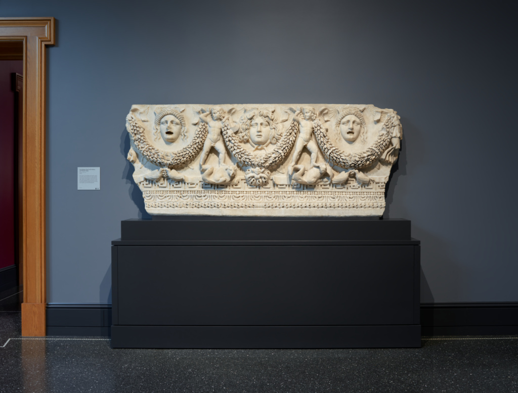 Front Panel of a Garland Sarcophagus; Unknown; about A.D. 140–170; Light gray marble (Phrygian marble); 91.5 × 226 × 18.5 cm (36 × 89 × 7 5/16 in.); 72.AA.152; Rights Statement: No Copyright - United States