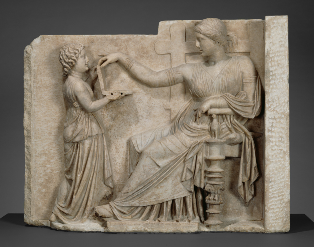 Grave Naiskos of an Enthroned Woman with an Attendant; Unknown; (Delos?), East Greece; about 100 B.C.; Marble; 94.6 × 120.7 × 21.6 cm (37 1/4 × 47 1/2 × 8 1/2 in.); 72.AA.159; The J. Paul Getty Museum, Villa Collection, Malibu, California; Rights Statement: No Copyright - United States