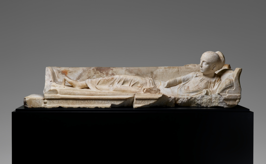 Kline Monument with a Reclining Girl; Unknown; A.D. 120–140; Marble; 38 × 47 × 141 cm (14 15/16 × 18 1/2 × 55 1/2 in.); 73.AA.11; Rights Statement: No Copyright - United States