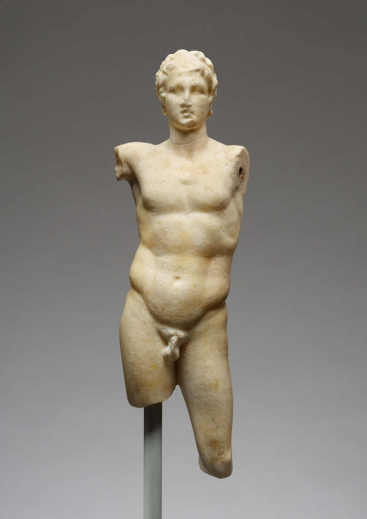 Statuette of Alexander the Great; Unknown; 2nd century B.C.; Marble; 31.5 × 10.7 × 7 cm (12 3/8 × 4 3/16 × 2 3/4 in.); 73.AA.17; The J. Paul Getty Museum, Villa Collection, Malibu, California; Rights Statement: No Copyright - United States