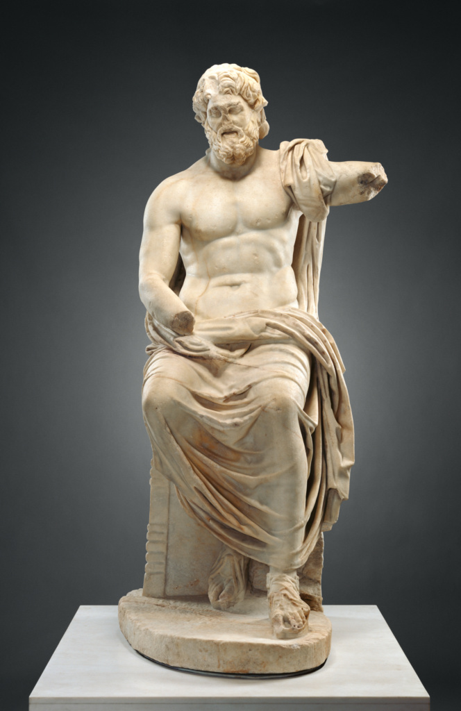 Statue of Jupiter (Marbury Hall Zeus); Unknown; 100–1 B.C.; Marble; 207 × 100 × 62.5 cm (81 1/2 × 39 3/8 × 24 5/8 in.); 73.AA.32; Rights Statement: No Copyright - United States
