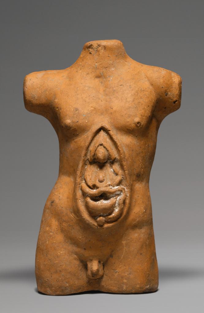 Votive Statuette; Unknown; Etruria; 300–200 B.C.; Terracotta; 21.6 × 13.2 × 7.5 cm (8 1/2 × 5 3/16 × 2 15/16 in.); 73.AD.83; The J. Paul Getty Museum, Villa Collection, Malibu, California; Rights Statement: No Copyright - United States