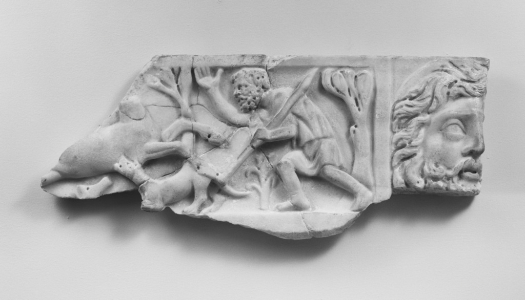 Fragment from the Lid of a Sarcophagus; Unknown; Rome, Lazio, Italy; about A.D. 225; Italian marble (?); 24.7 × 43.3 cm (9 3/4 × 17 1/16 in.); 73.AA.99.2; The J. Paul Getty Museum, Villa Collection, Malibu, California; Rights Statement: No Copyright - United States