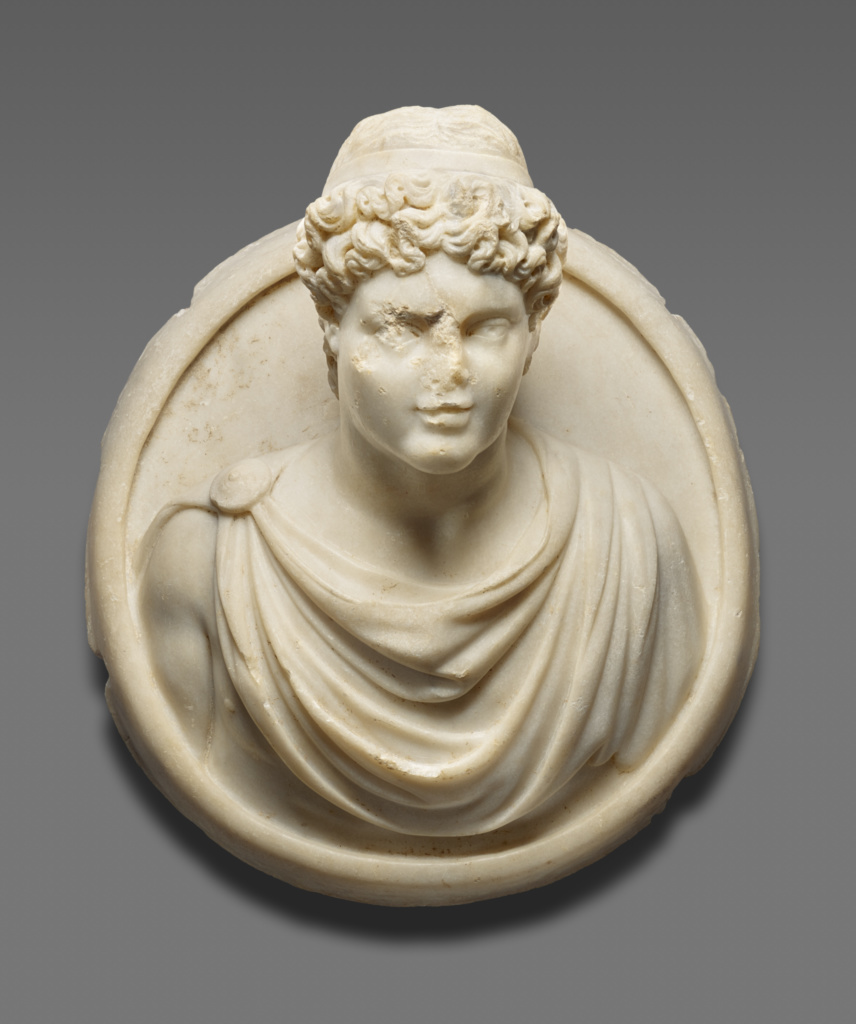 Medallion with the Bust of a Young Man; Unknown; A.D. 300–400; Marble; 55 cm (21 5/8 in.); 73.AA.113; Rights Statement: No Copyright - United States