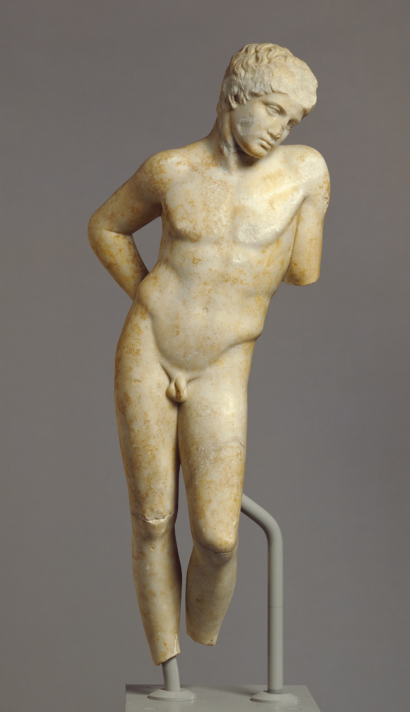 """Statue of a Youth, so-called """"Narcissus""""; Unknown; Roman Empire; 2nd century A.D.; Marble; 101.5 × 39 × 24 cm (39 15/16 × 15 3/8 × 9 7/16 in.); 73.AA.127; The J. Paul Getty Museum, Villa Collection, Malibu, California; Rights Statement: No Copyright - United States"""
