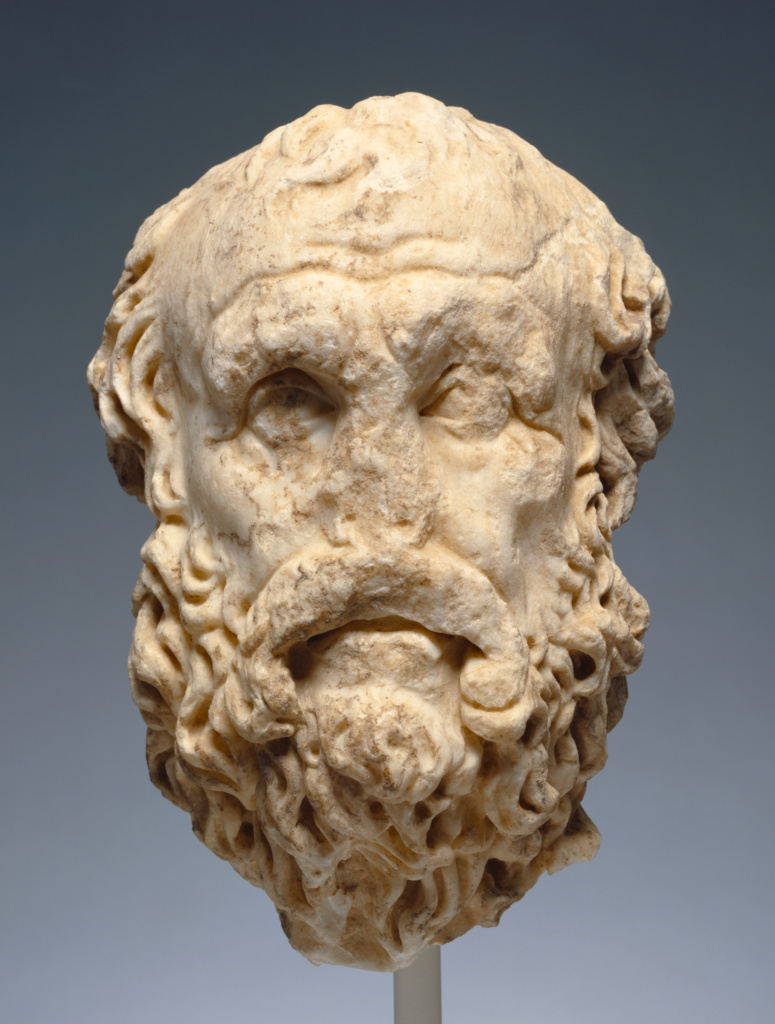 Portrait Head of Diogenes; Unknown; Roman Empire; late 2nd century A.D.; Marble; 33 cm (13 in.); 73.AA.131; The J. Paul Getty Museum, Villa Collection, Malibu, California; Rights Statement: No Copyright - United States