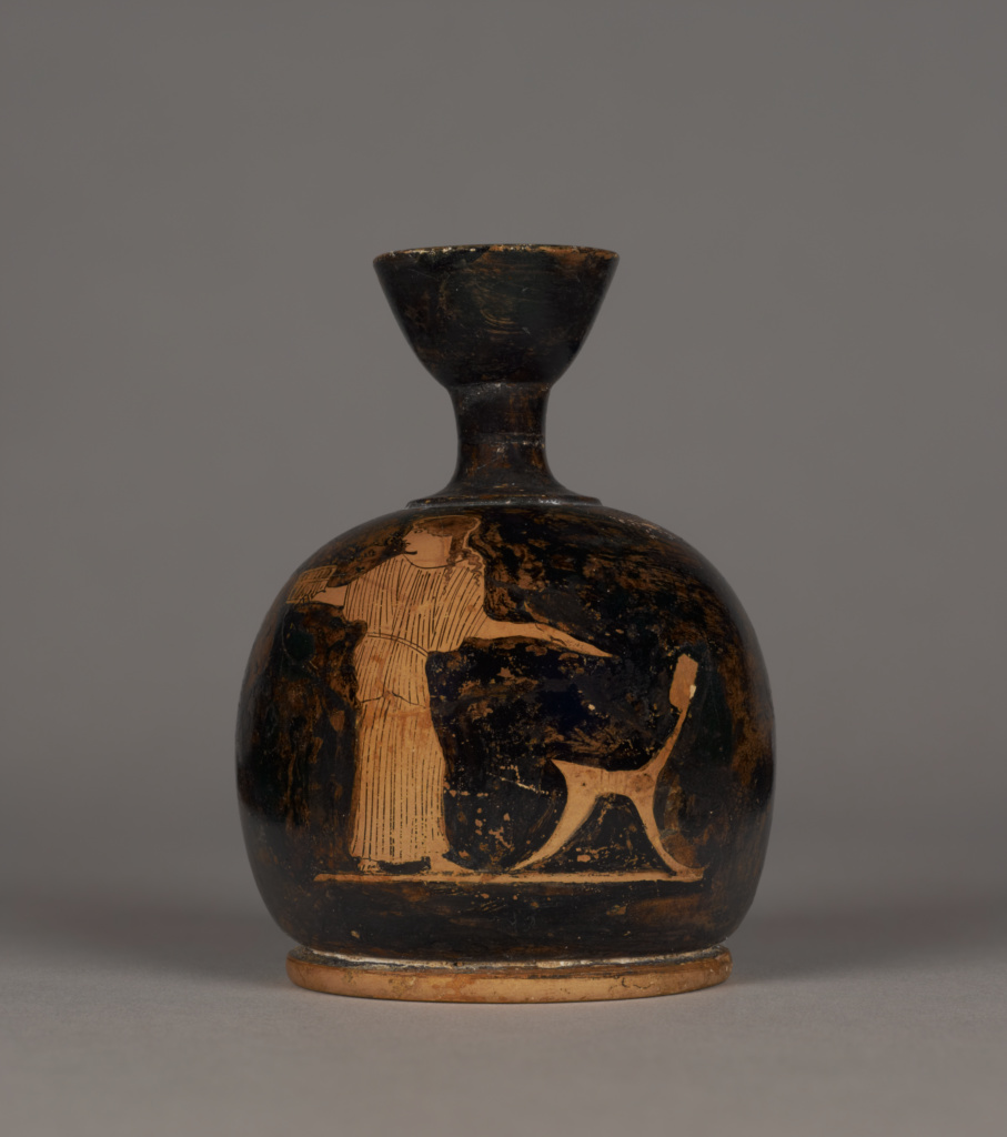 Attic Red-Figure Squat Lekythos; Unknown; Athens, Greece; about 430 B.C.; Terracotta; 9.8 cm (3 7/8 in.); 73.AE.137; The J. Paul Getty Museum, Villa Collection, Malibu, California; Rights Statement: No Copyright - United States