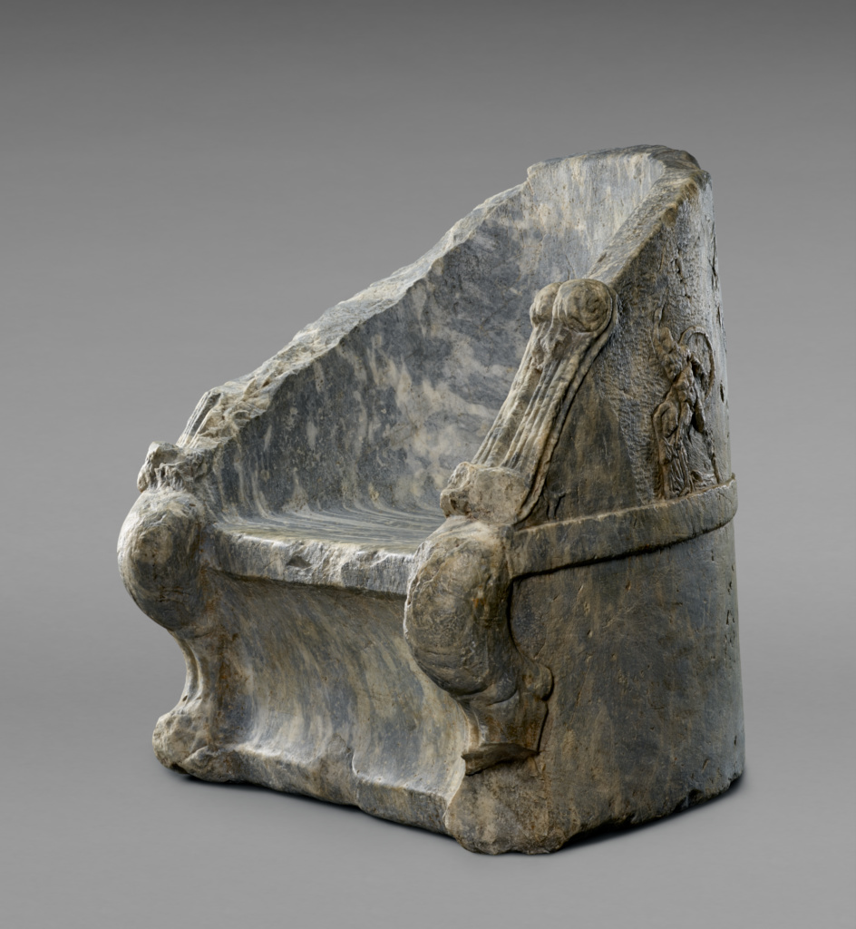 Throne; Unknown; 300–200 B.C.; Marble; 81.5 × 70 × 66 cm (32 1/16 × 27 9/16 × 26 in.); 74.AA.12; Rights Statement: No Copyright - United States