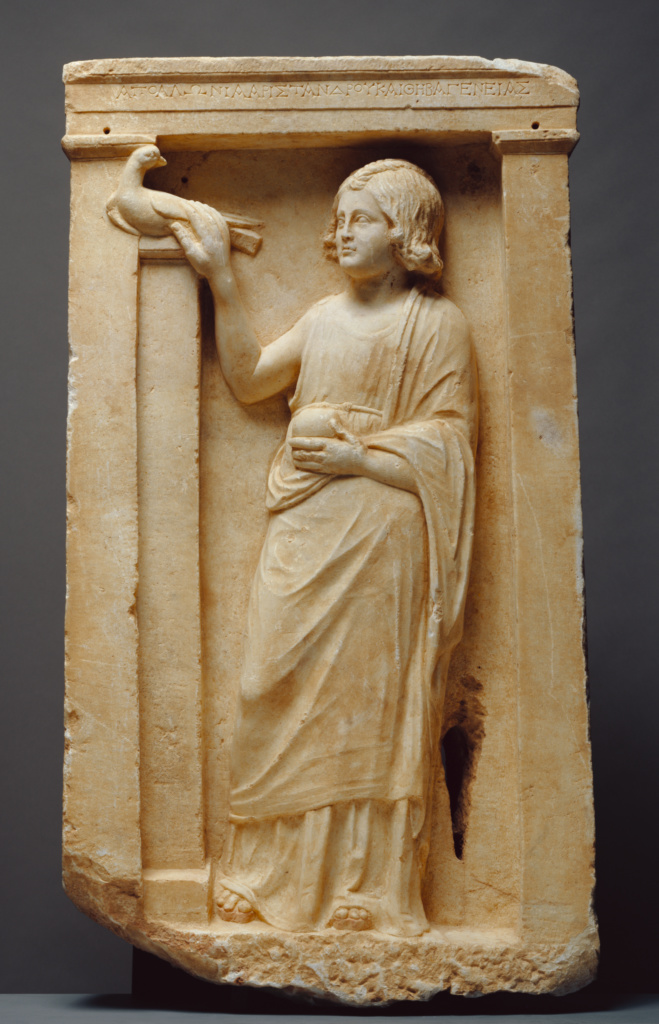 Grave Naiskos of Apollonia; Unknown; Greece; about 100 B.C.; Marble with polychromy; 112.4 × 63.5 × 20 cm, 308.4 kg (44 1/4 × 25 × 7 7/8 in., 680 lb.); 74.AA.13; The J. Paul Getty Museum, Villa Collection, Malibu, California; Rights Statement: No Copyright - United States