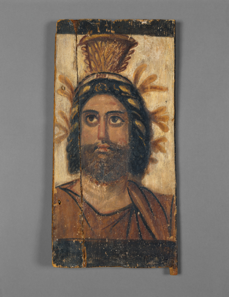 Panel with Painted Image of Serapis; Unknown; A.D. 100–200; Tempera on wood; 39.1 × 19.1 × 1.6 cm (15 3/8 × 7 1/2 × 5/8 in.); 74.AP.21; Rights Statement: No Copyright - United States