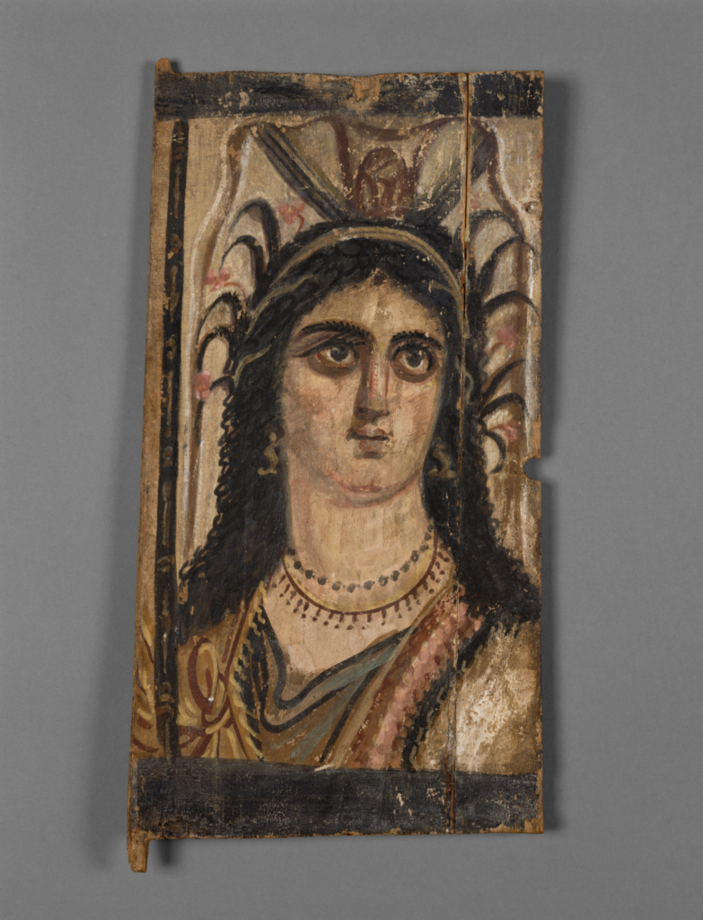 Panel with Painted Image of Isis; Unknown; Egypt; A.D. 100–200; Tempera on wood; 40 × 19 × 1.3 cm (15 3/4 × 7 1/2 × 1/2 in.); 74.AP.22; The J. Paul Getty Museum, Villa Collection, Malibu, California; Rights Statement: No Copyright - United States