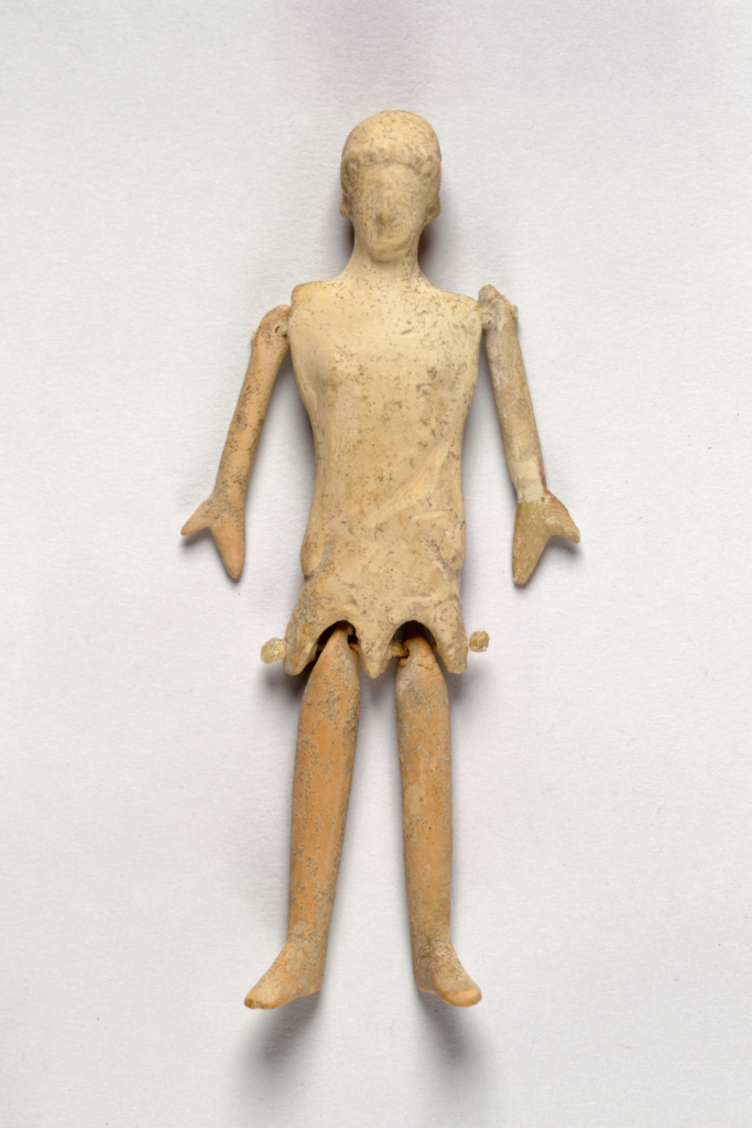 Doll; Unknown; Greece; 5th century B.C.; Terracotta; 13.5 cm (5 5/16 in.); 74.AD.46; The J. Paul Getty Museum, Villa Collection, Malibu, California; Rights Statement: No Copyright - United States