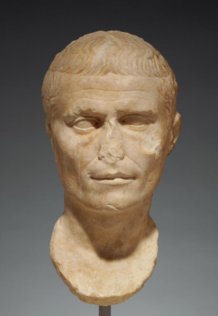 Portrait of Julius Caesar; Unknown; Roman Empire; 1st century B.C.–1st century A.D.; Marble; 36.5 × 30 × 22.5 cm (14 3/8 × 11 13/16 × 8 7/8 in.); 75.AA.46; The J. Paul Getty Museum, Villa Collection, Malibu, California; Rights Statement: No Copyright - United States