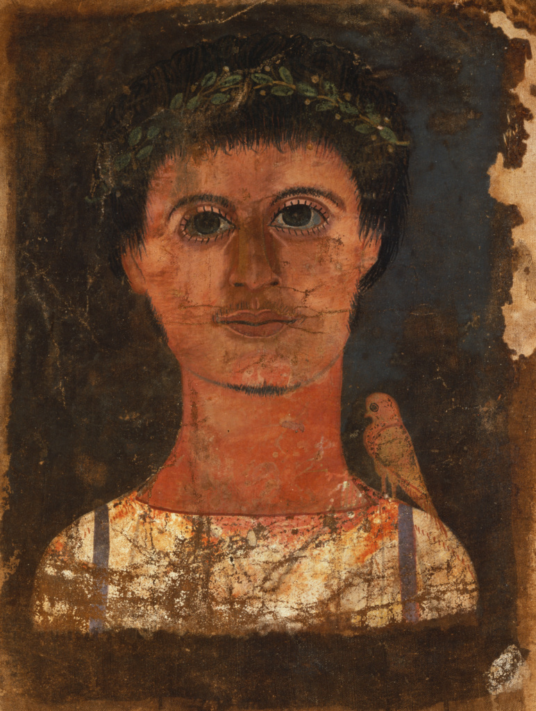 Mummy Shroud with Painted Portrait of a Boy; Unknown; Egypt; A.D. 150–250; Tempera on linen; 62 × 52.5 cm (24 7/16 × 20 11/16 in.); 75.AP.87; The J. Paul Getty Museum, Villa Collection, Malibu, California, Gift of Lenore Barozzi; Rights Statement: No Copyright - United States
